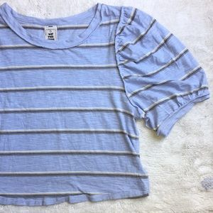 We The Free XS Soft Blue Striped Puffy Sleeve Tee